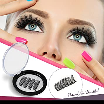b3a6cf6acd3 Amazon.com : Piero Lorenzo Magnetic Eyelashes Dual Magnet Glue-free 3D  Reusable Full Size Premium Quality Natural Look Best False Lashes(4 Pieces)  : Beauty