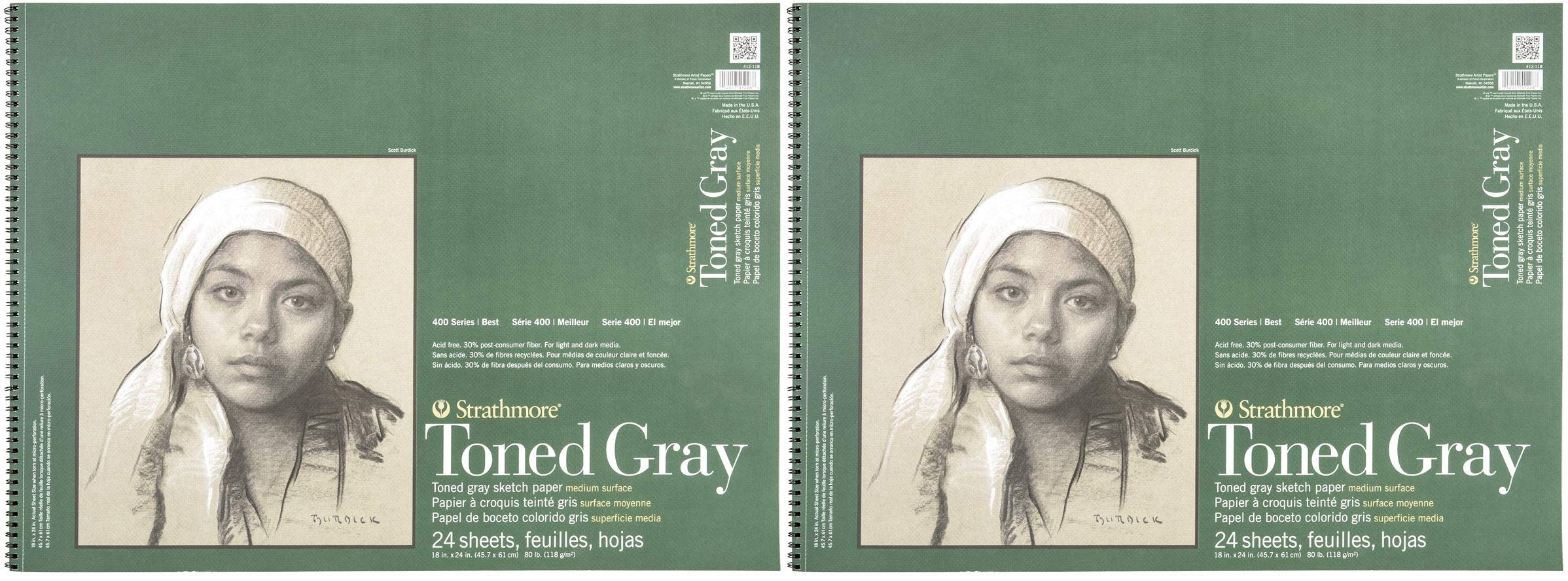 Strathmore 412-118 400 Series Toned Gray Sketch Pad, 18''x24'' Wire Bound, 24 Sheets (Тwo Рack) by Strathmore
