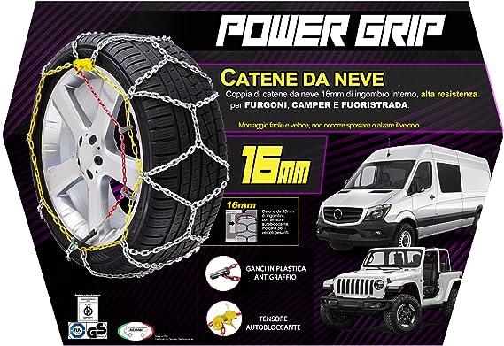 16F245 Catene da Neve Power Grip 16mm Omologate Gruppo 245 pneumatici 225//70R16