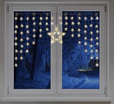 LED Sternenvorhang 140x95 cm - 90 LED warmweiß - Fenster Deko Stern Lichterkette Lichtervorhang