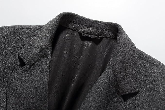 SSLR Herren Wintermantel Wolle Slim Fit mit Stehkragen Einreiher Business Freizeit Winter Mantel /Übergangsmantel