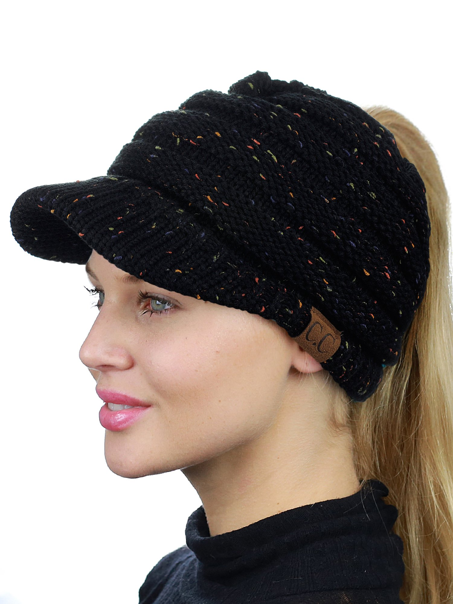 C.C BeanieTail Warm Knit Messy High Bun Ponytail Visor Beanie Cap, Confetti Black