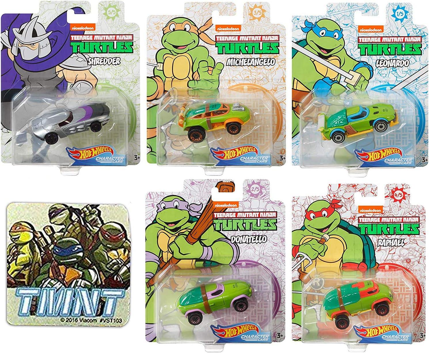 On Patrol Teenage Mutant Ninja Turtles Character Cars Bundled Donatello Michelangelo Leonardo Raphael Heroes & Shredder + TMNT Team Mini Ticker 6 Items