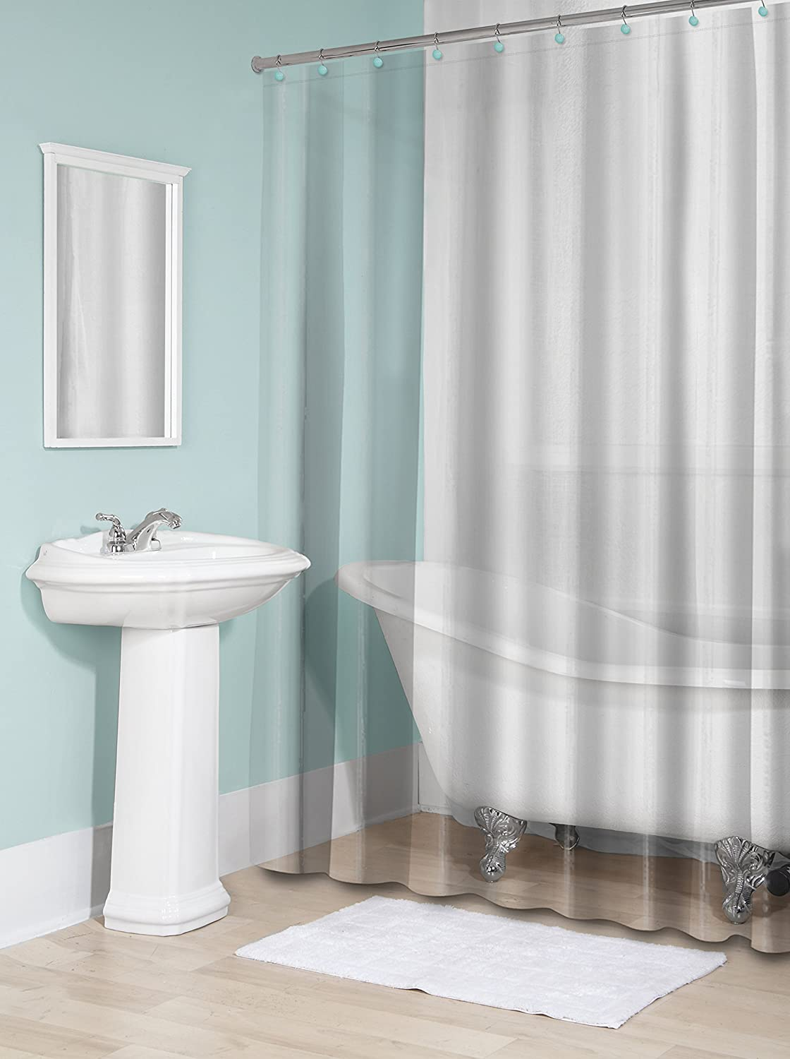 Splash Home 100 PEVA Shower Curtain Liner 6 Gauge No Odor Non Toxic ChemicalsUltra Soft Use As Standalone Or 70 X 72 Inch Clearwith