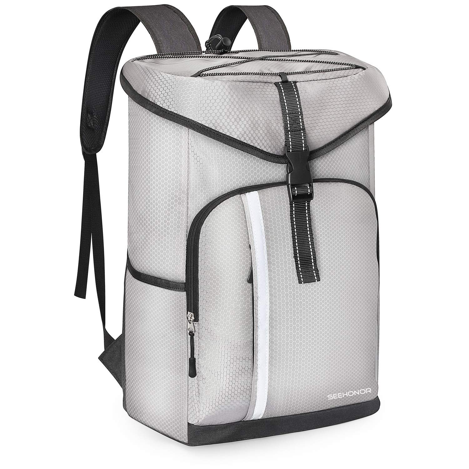 SEEHONOR Insulated Cooler Backpack Leakproof Soft Cooler Bag Lightweight Backpack Cooler with Bottle Opener for Lunch Picnic Hiking Camping Beach Fishing Travel Trips 30 Cans Silver