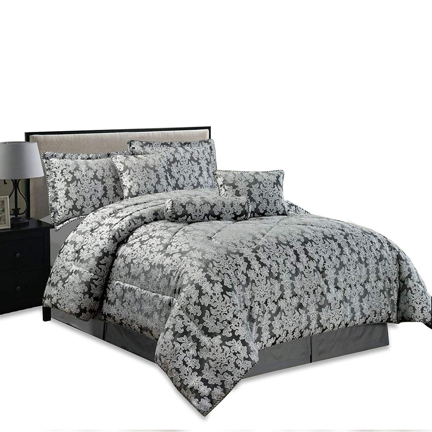 7Pc Luxurious Diana Heavy Jacquard Quilted Bedspread Bedding Cushion Cover Set