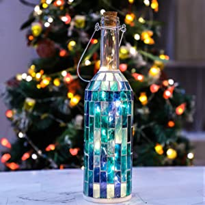 Wine Bottle Lights, 20LED Battery Operated Wall Decor Hanging Fairy Lights, Blue Bottle Handmade Mosaic Design for Farmhouse, Country, Bar, Christmas, Wedding Home Decoration(1 Pack)