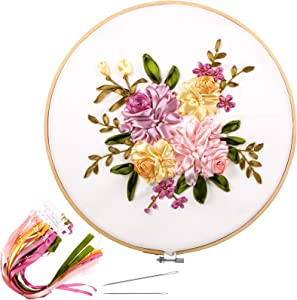 Ribbon Embroidery Starter Kit, Including Embroidery Cloth with Floral Pattern, Plastic Embroidery Hoop, Embroidery Needles and Color Threads, Instructions for Beginners DIY Crafts