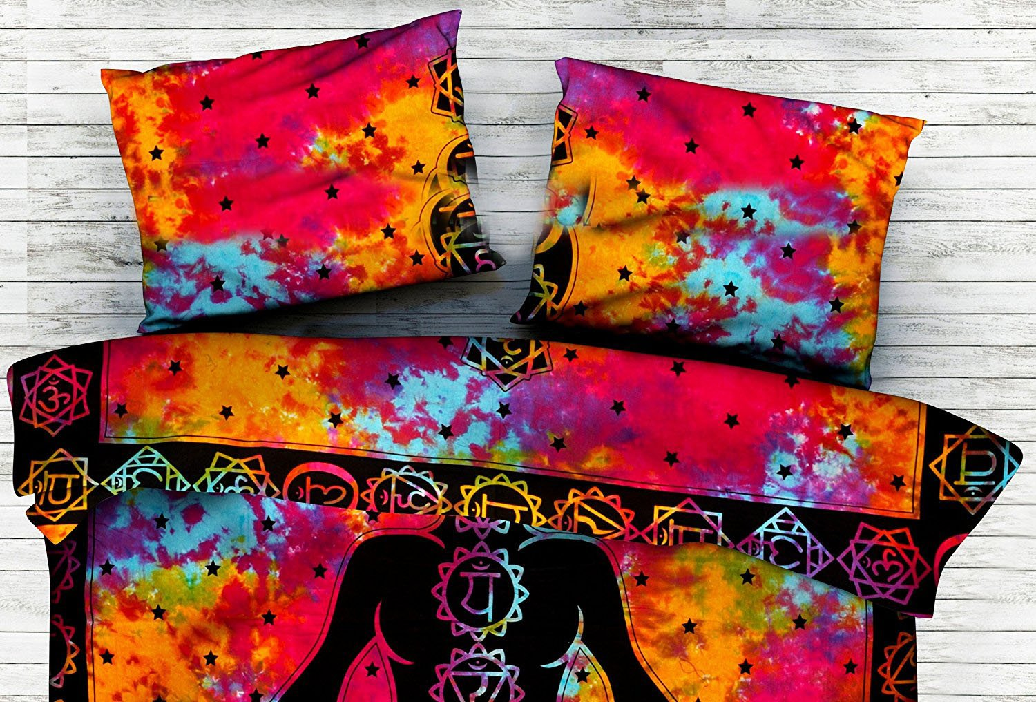 Exclusive Meditation Tie Dye Indian Duvet Cover With Pillow cases, Mandala Duvet Cover, Comforter Cover Throw Reversible Quilt Cover By Handicraft-Palace