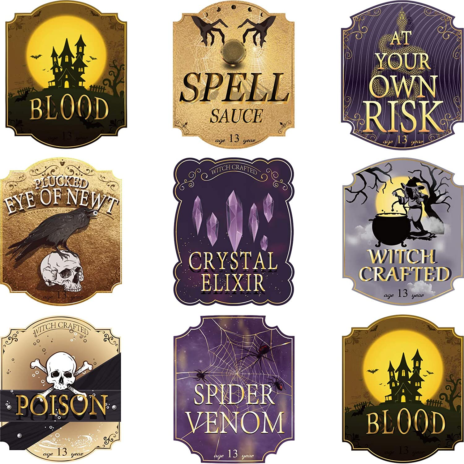16 Pieces Halloween Wine Bottle Labels Party Decoration Luxury Wine Labels Accessories Stickers with Foil