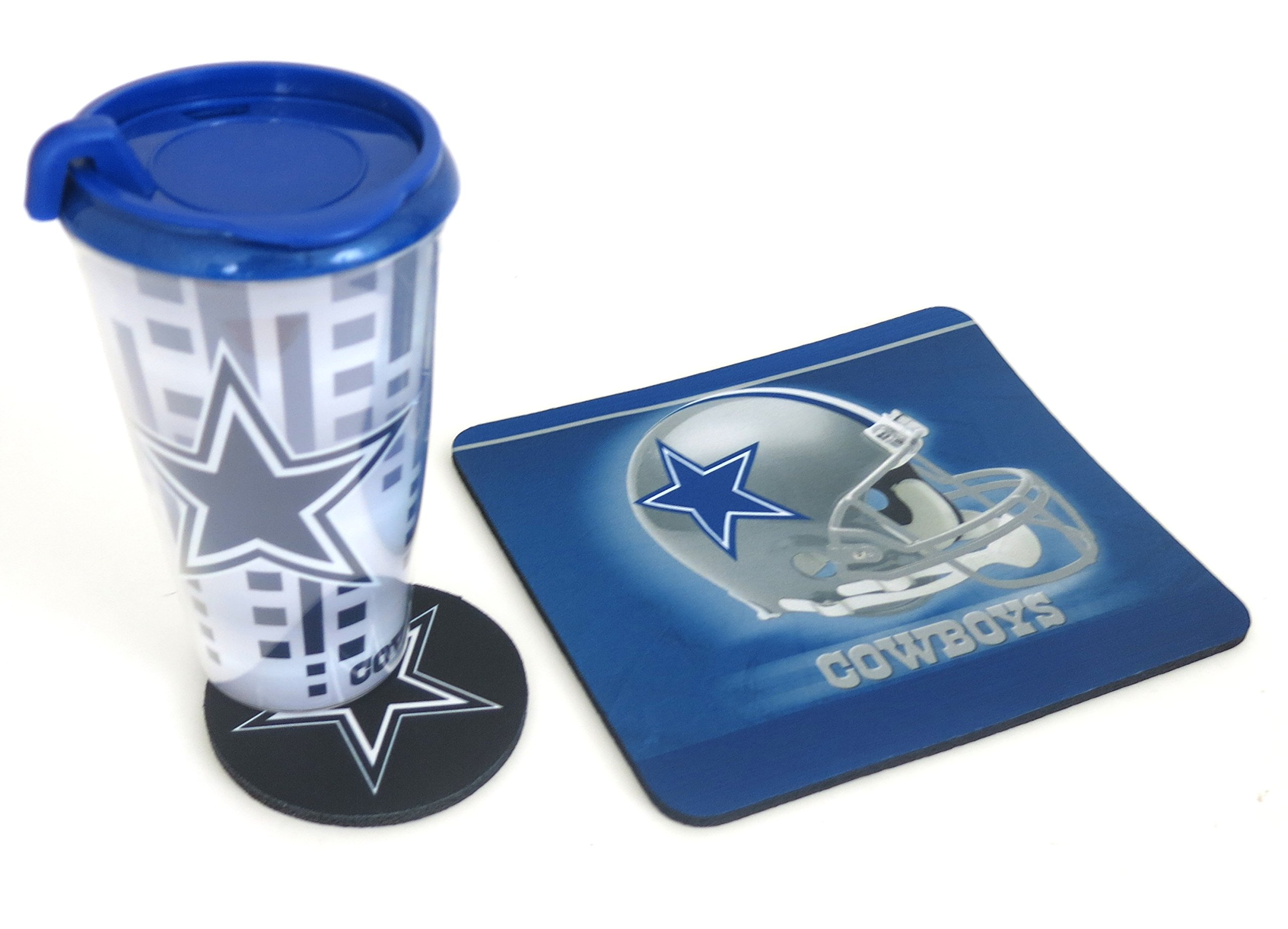 Dallas Cowboys computer workstation set. 3 piece set includes a large double wall Tumbler, Mouse pad and Coaster, tumbler