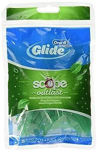Glide Plusx 40mm Outlast Floss Picks Long Lasting Mint 75 Each (Pack of 3)