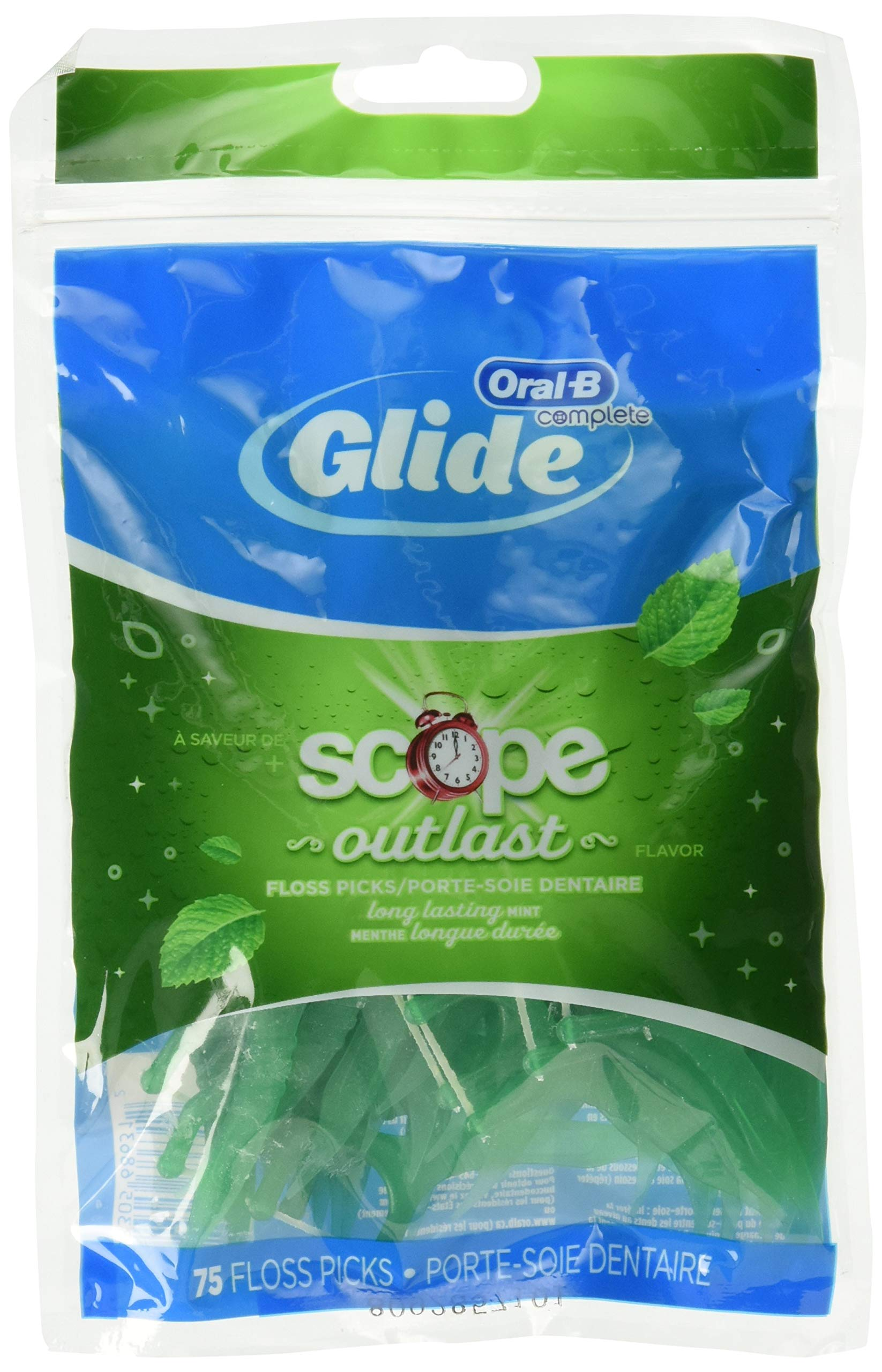 Glide Plus Scope Outlast Floss Picks Long Lasting Mint 75 Each (Pack of 3)