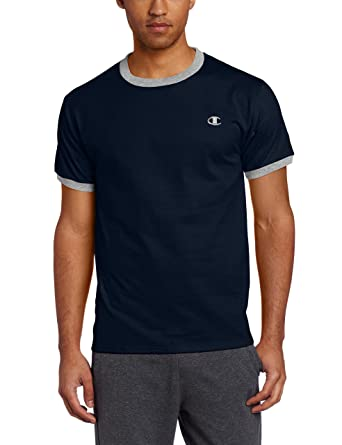a60facf6 Champion Men's Jersey Ringer T-Shirt, Navy/Oxford Gray, Small