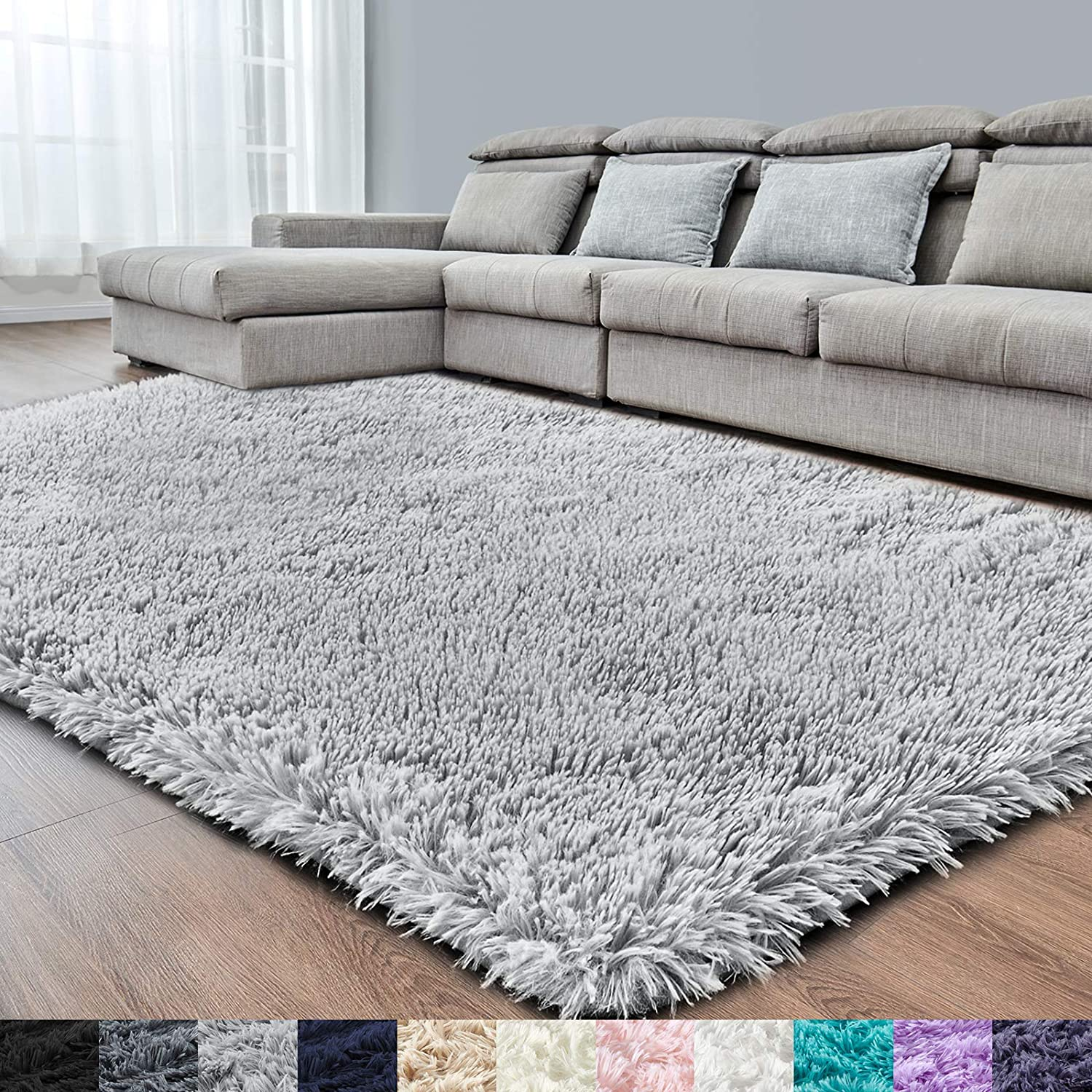 Light Grey Super Soft Area Rug for Bedroom,4x6.6,Fluffy Rugs for Living Room,Shag Carpet for Girls Boys Room,Furry Rug for Baby Kids Room,Fuzzy Rug for Dorm Nursery Room,Anti-Slip Rug,Bedside Rug