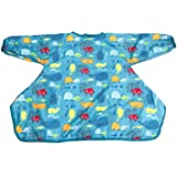 Long Sleeve Baby Bib, Attaches to Highchair, Waterproof & Portable (Blue Seaworld)