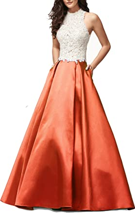 2018 High Neck Lace Ball Gown Prom Dresses Backless Long Homecoming Gowns Coral US12 Size