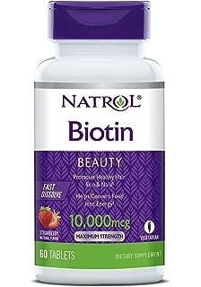 Natrol Biotin Fast Dissolve Tablets, Strawberry flavor, 10,000mcg, 60 Count