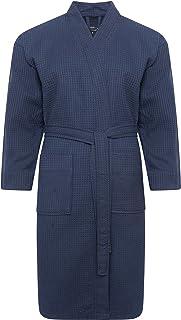 Slumber Hut Mens Waffle Hotel Kimono Robe Bath Dressing Gown Navy Blue Luxury 100% Cotton Turkish Spa Tie Waist