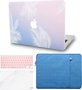 "KECC Laptop Case for MacBook Air 13"" w/Keyboard Cover + Sleeve + Screen Protector (4 in 1 Bundle) Plastic Hard Shell Case A1466/A1369 (Blue Feather)"