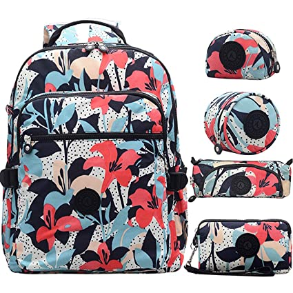 7c2f0750271c Image Unavailable. Image not available for. Color  Women Multifunction  School Waterproof Nylon Backpack Travel Bag Rucksack Trekking Large Capacity