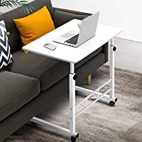Mobile Laptop Desk Adjustable Height 360°Rotation Wooden Table Top Metal Frame Notebook Computer Stand Up Cart Study…