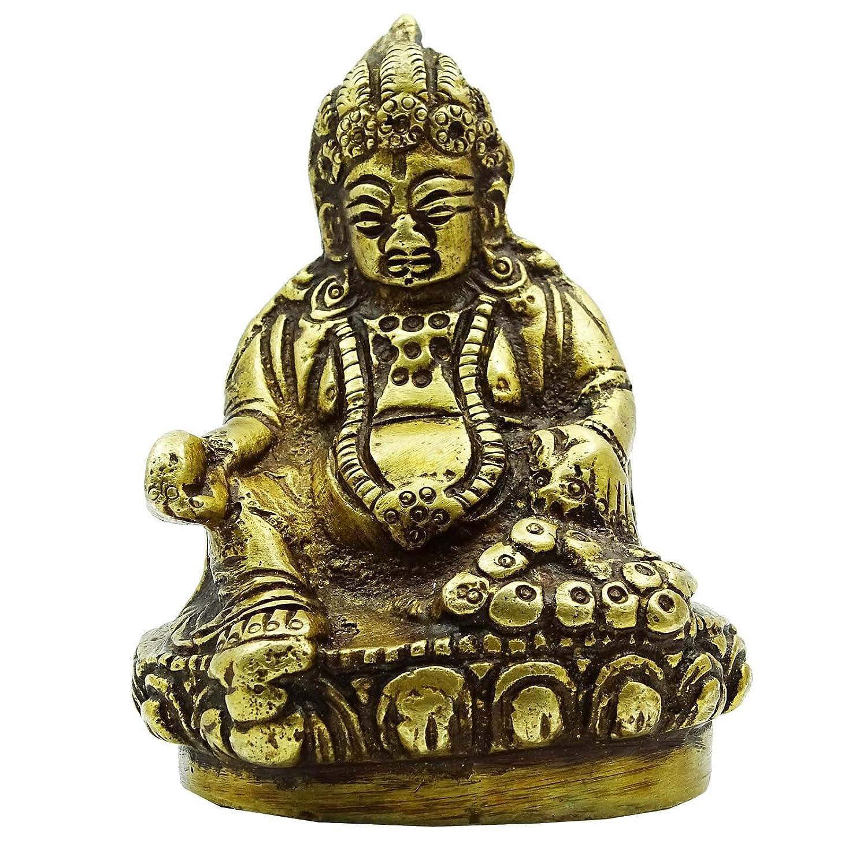 真鍮Praying Lord KuberメタリックゴールドハンドメイドテーブルDecor Statue B072BJPC11