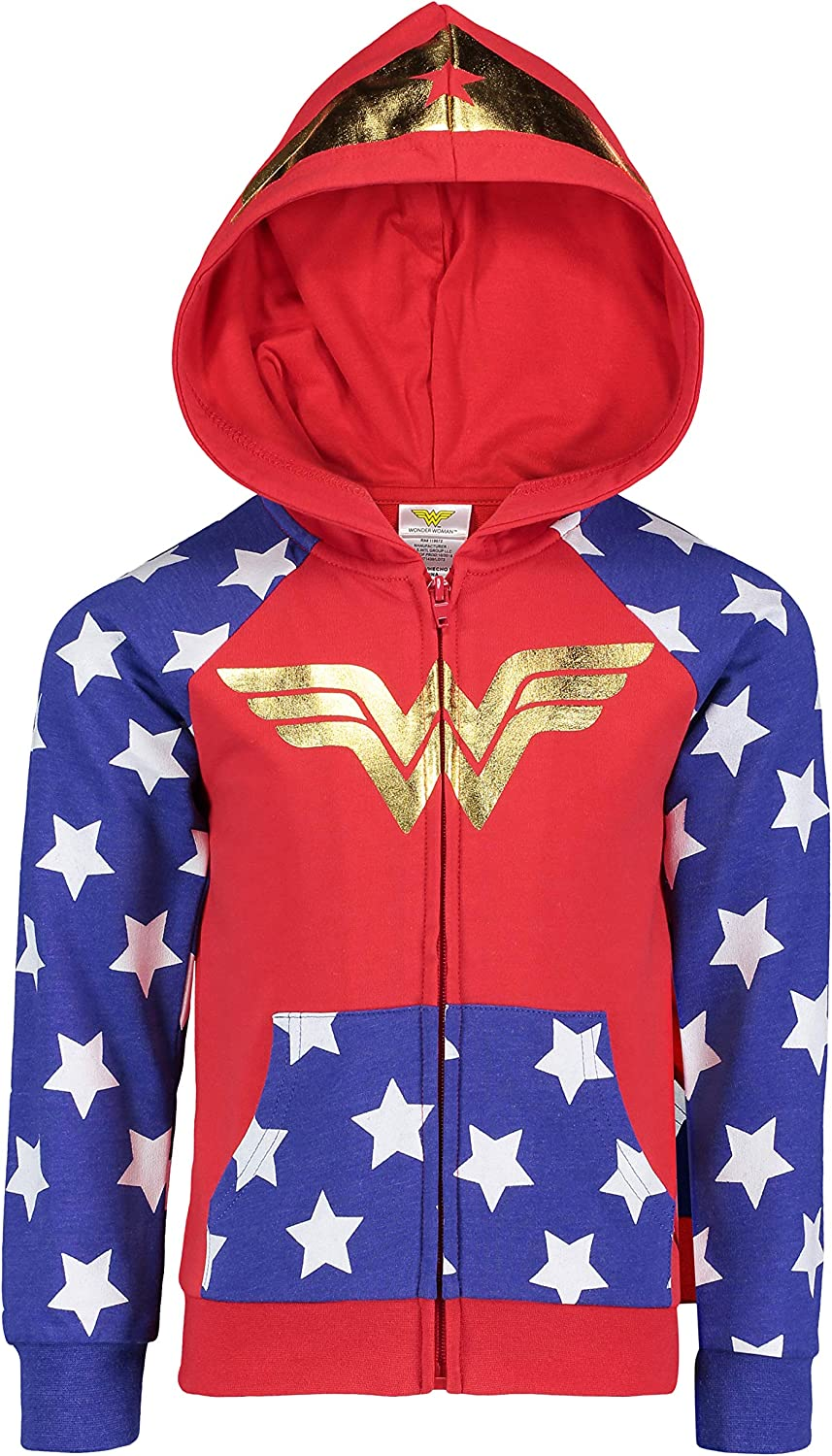 DC Comics 5 843596WNS Wonder Woman Girls Fleece Hoodie with 3D Accents in Red