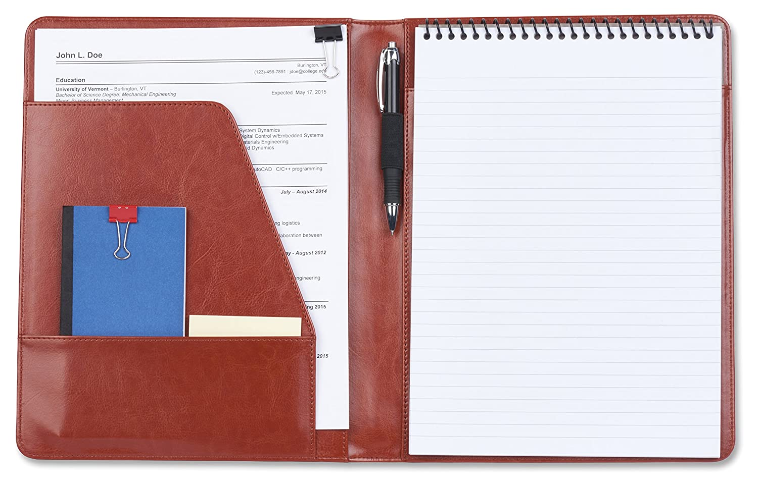 Amazon Com Simple Brown Leather Padfolio Portfolio No Zipper