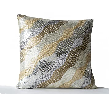 Couch Cushion Covers Amazon: Amazon com  Metallic Pillow Covers  White Silk Pillow Covers    ,