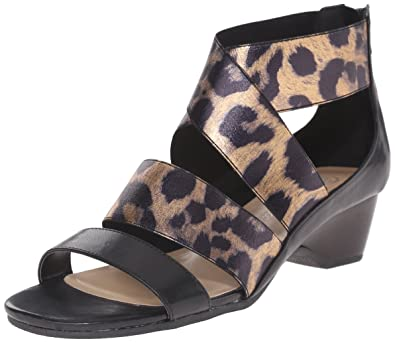 Bella Vita Women's Paloma II Wedge Sandal, Black/Leopard, ...