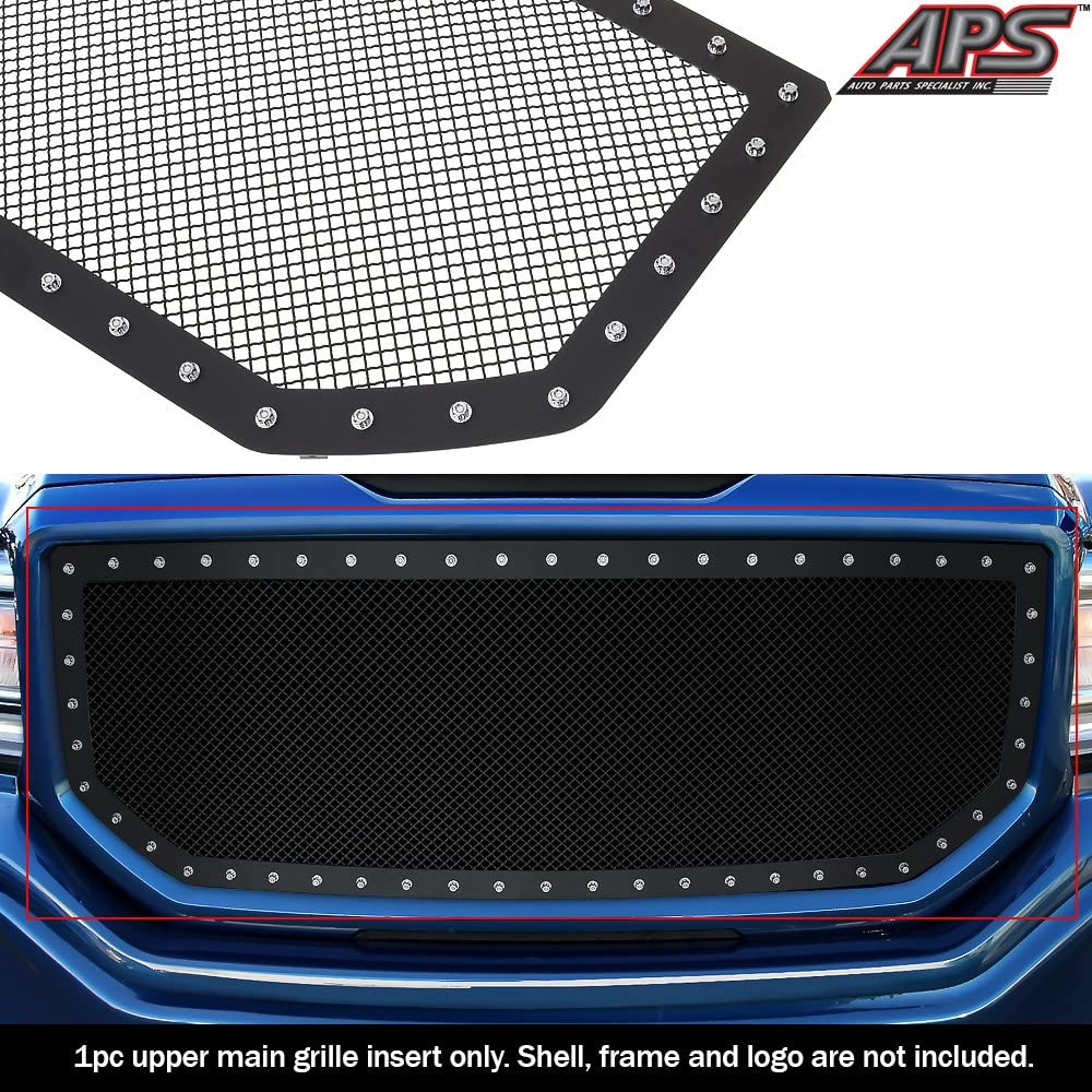 APS Compatible with 2014-2015 GMC Sierra 1500 Stainless Steel Mesh Rivet Studs Grille Insert S18-H3795LG