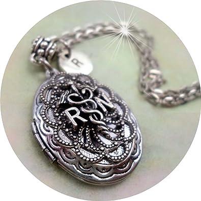 Amazon rn filigree locket in antique silver with custom letter rn filigree locket in antique silver with custom letter charm registered nurse gift crafted altavistaventures Images