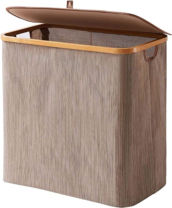 YOUDENOVA Clothes Hamper with Lid, 90L Waterproof Bamboo Collapsible Laundry Basket with lids, Rustic Dirty Clothes Hamper Storage for Bedroom, Bathroom, Living Room, Dorm