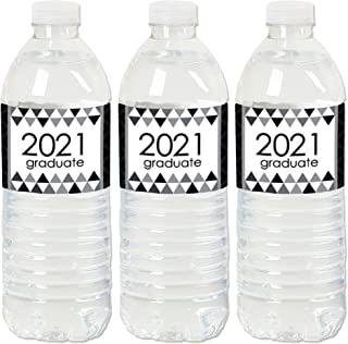 product image for Big Dot of Happiness Black and White Grad - Best is Yet to Come - 2021 Black and White Graduation Party Water Bottle Sticker Labels - Set of 20