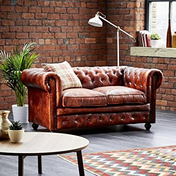 Wallace Sacks Leather Chesterfield 2 Seater Sofa Tan Amazon Co Uk