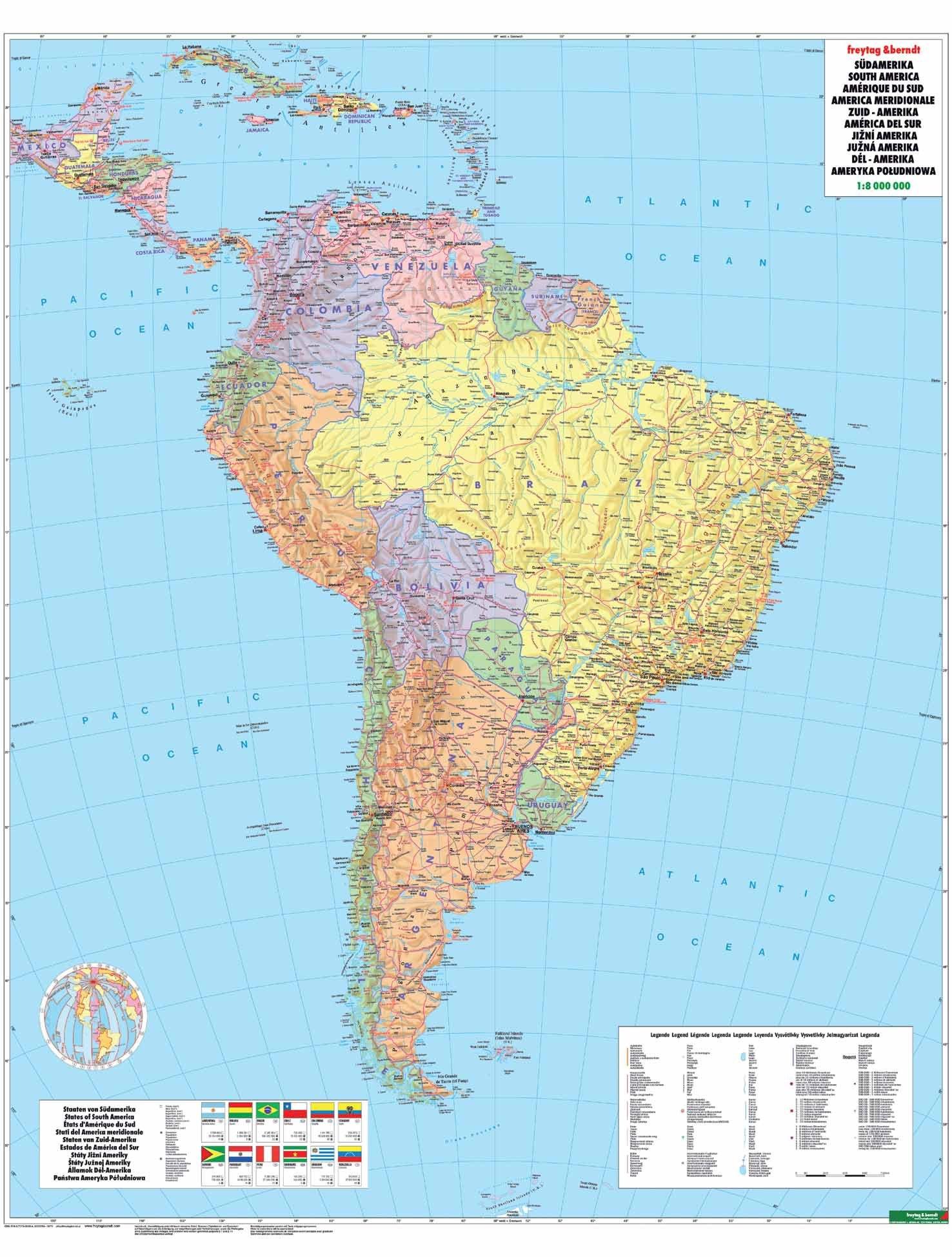 National Geographic Kontinent-Karte Südamerika