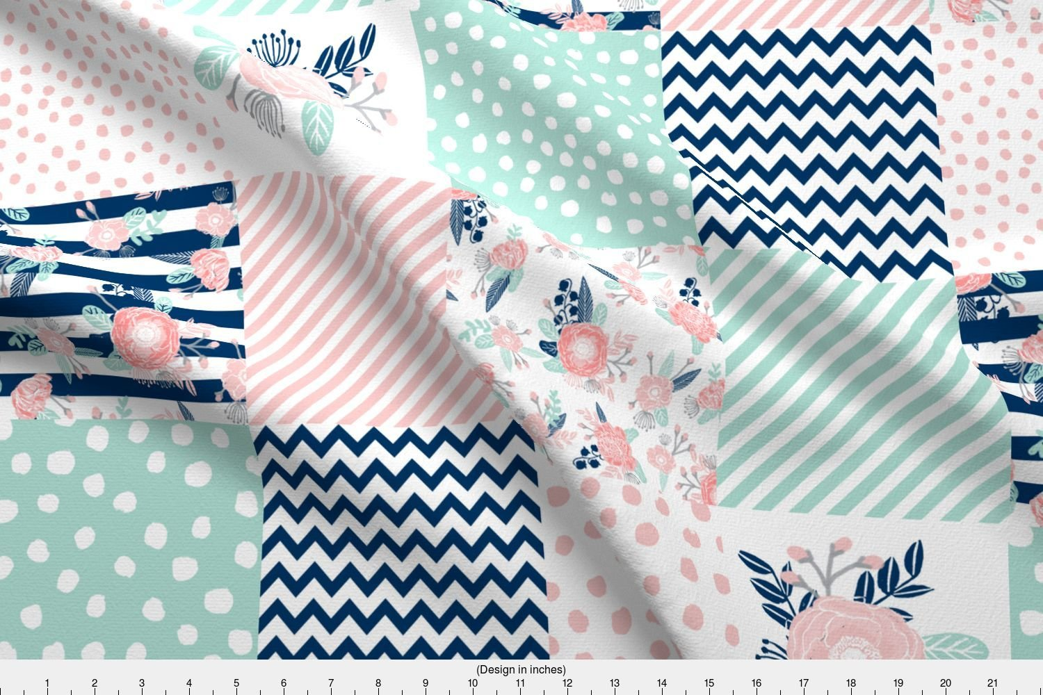 Spoonflower cheater fabric cheater quilt fabric girls fabric pink mint and navy floral cheater fabric by charlottewinter printed on basic cotton ultra
