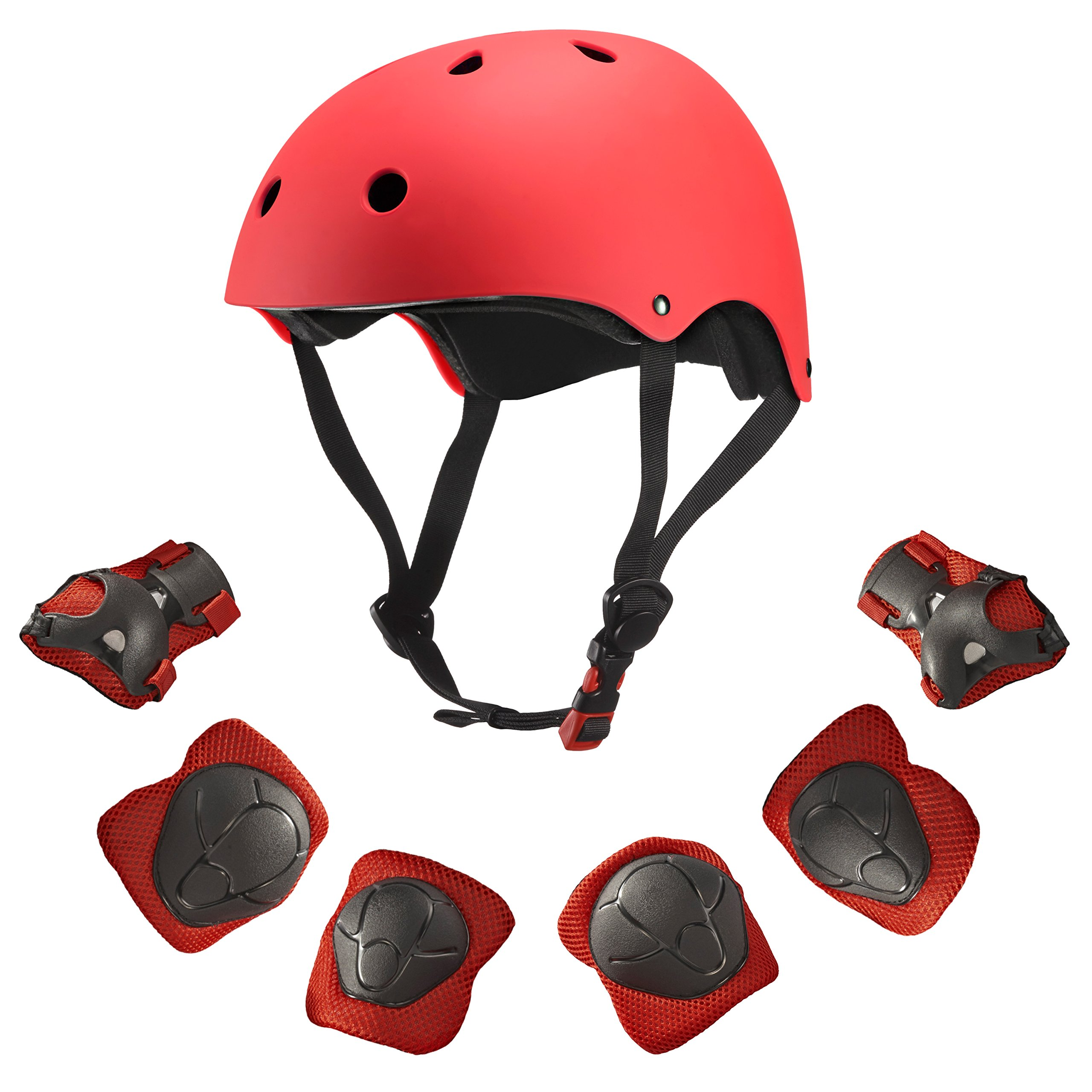 Dostar Kids Youth Adjustable Sports Protective Gear Set Safety Pad Safeguard (Helmet Knee Elbow Wrist) Roller Bicycle BMX Bike Skateboard Hoverboard and Other Extreme Sports Activities (Red)