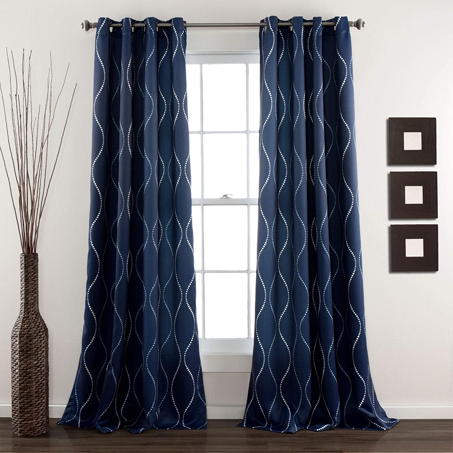 "Lush Decor, Navy Swirl Room Darkening Curtains | Wave Dot Stripe Retro Design Window Panel Set for Living, Dining, Bedroom (Pair), 84"" x 52"