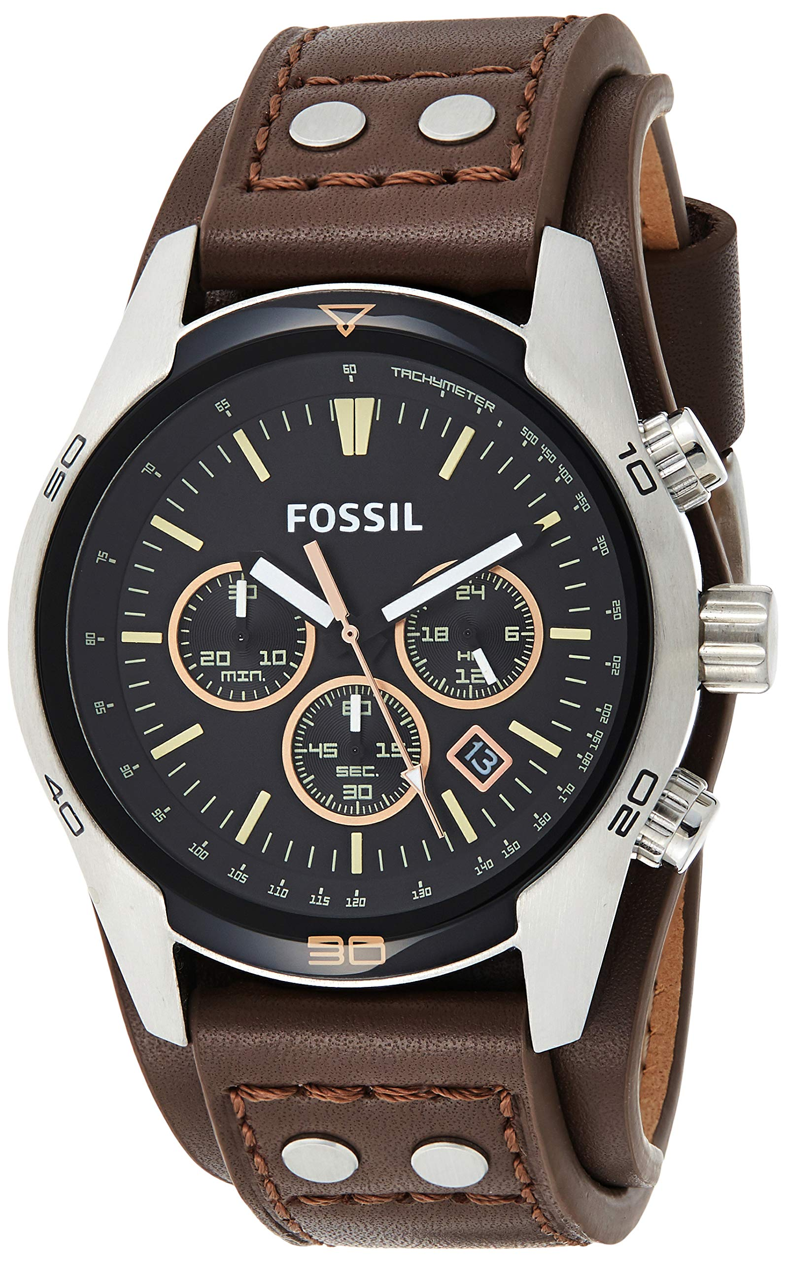 Men's Coachman Quartz Stainless Steel and Leather Casual Cuff Watch