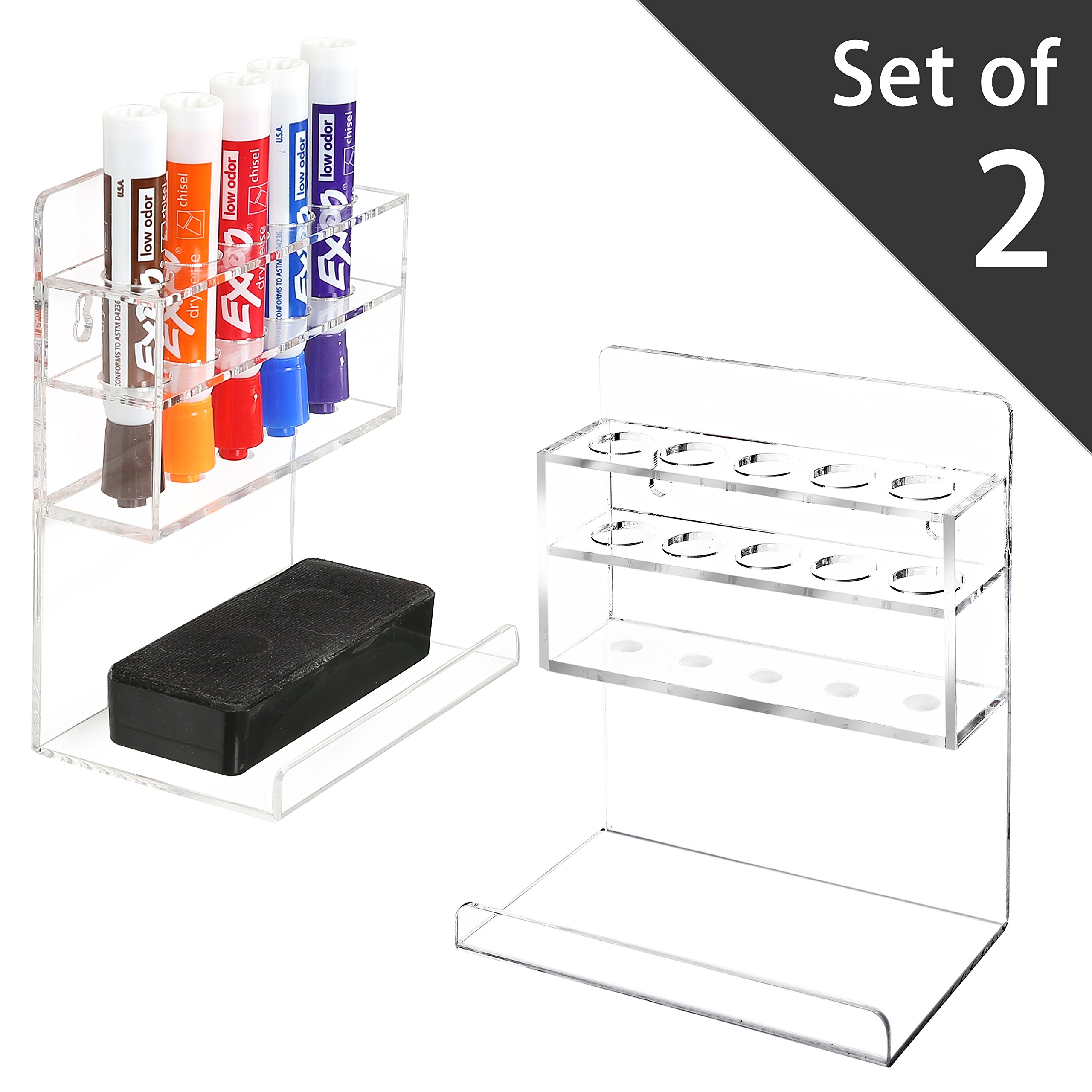 MyGift Clear Acrylic Wall Mounted 5 Slot Dry Erase Marker and Eraser Organizer Holder Rack, Set of 2