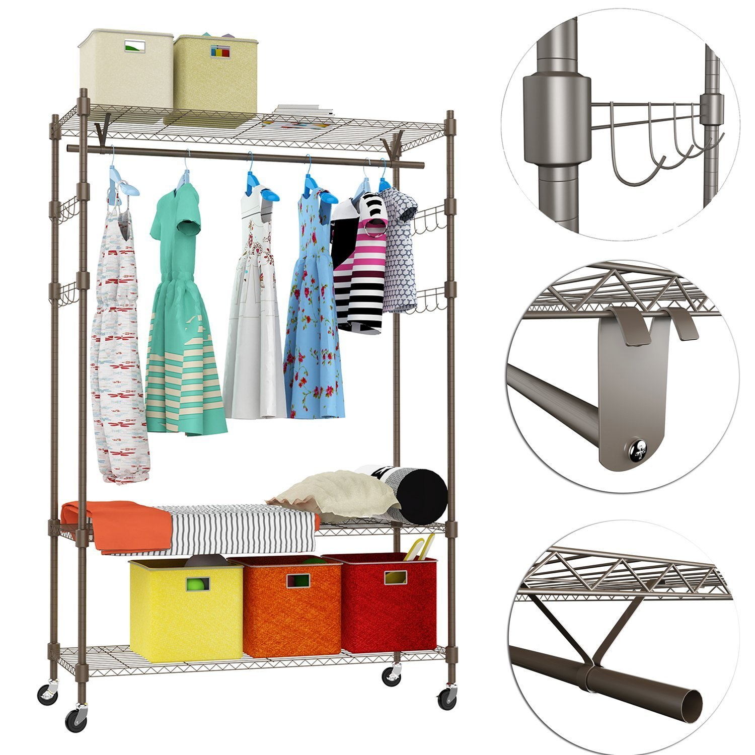 Kaluo Heavy Duty Wire Shelving Garment Rack Clothes Rack, Portable Clothes Closet Wardrobe Storage Rack Organizer with Hanging Rod