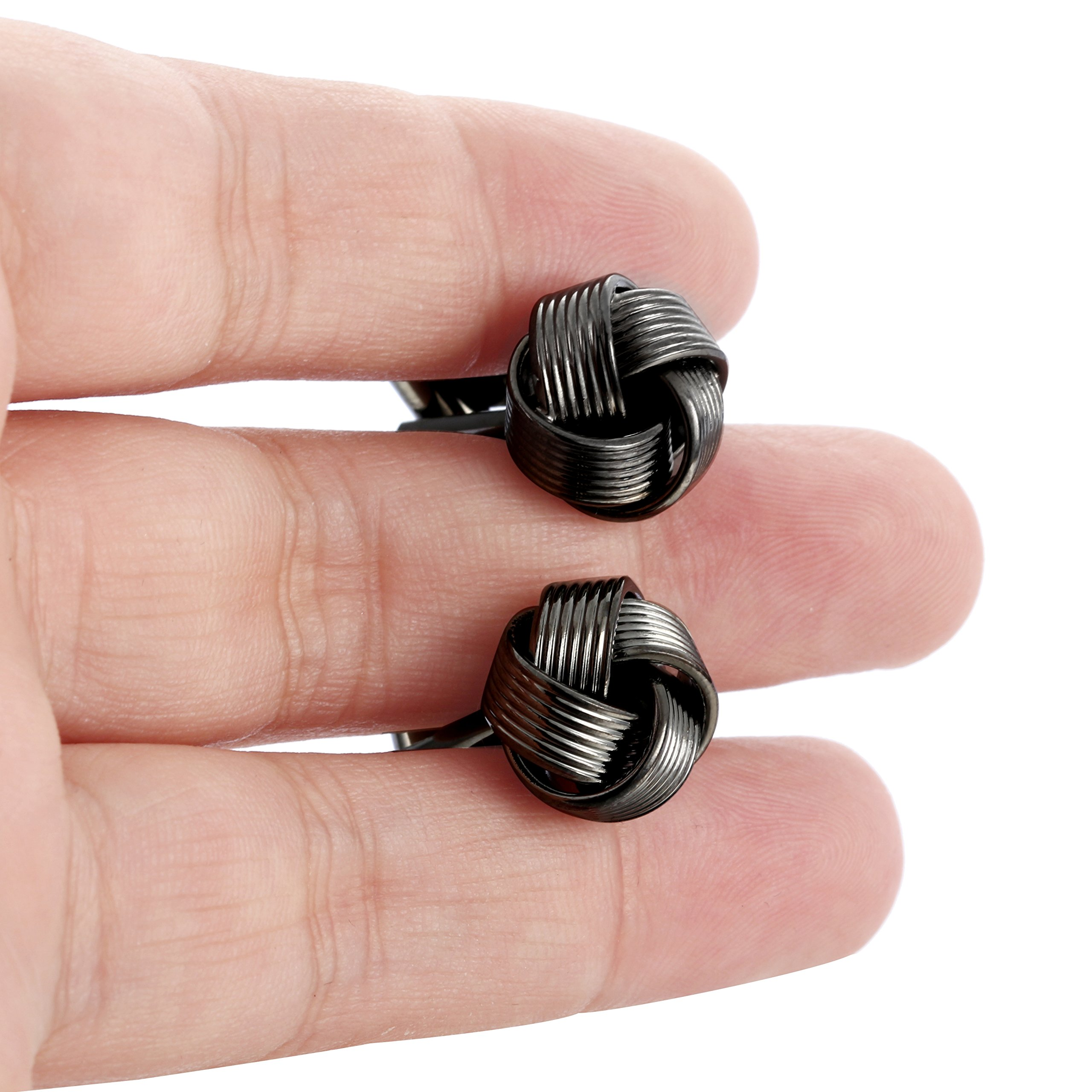 Jstyle Knot Cufflinks for Men Shirt Cufflinks Black Silver Tone Unique Business Wedding by Jstyle (Image #5)
