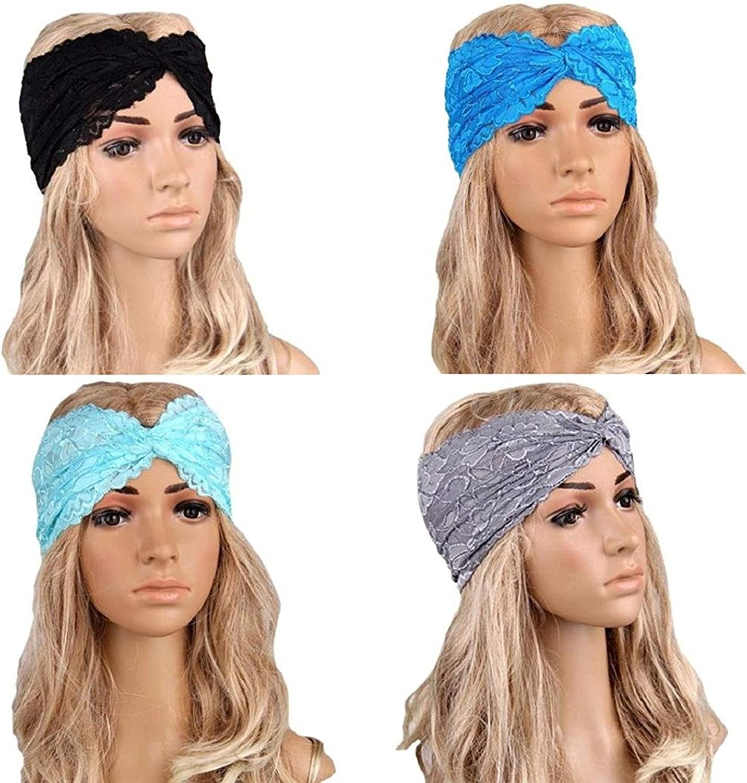 good01 Womens Sweet Lace Headwear Sport Yoga Twist Stretchy Headband Head Wrap