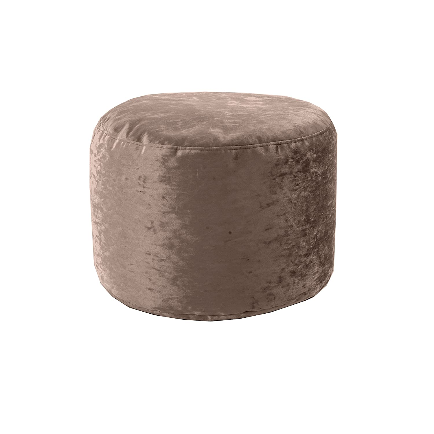 Round Bean Bag Footstool Pouffe Seat in Shiny Crushed Velvet Fabric HIPPO Chocolate