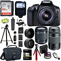 Canon EOS Rebel T6 DSLR Camera Kit, EFS 18-55mm, EF 75-300mm Zoom Lens, 64GB Sandisk Memory Card, Polaroid .43x Super Wide Angle, 2.2X HD Telephoto Lens, Canon Bag, Tripods & Accessory Bundle