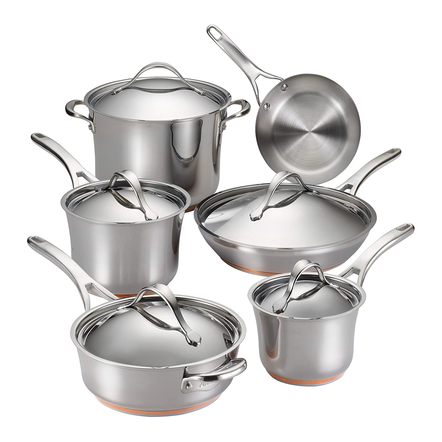 Amazon.com: Anolon 11-Piece Nouvelle Copper Stainless Steel ...