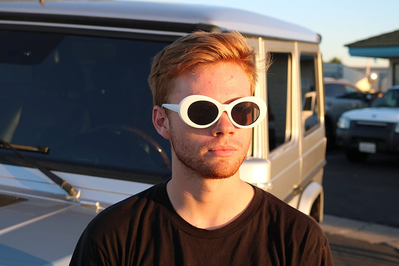 08ce90719e5 Clout Goggles Oval Sunglasses Mod Style Retro Thick Frame Fashion Kurt  Cobain (White) at Amazon Men s Clothing store