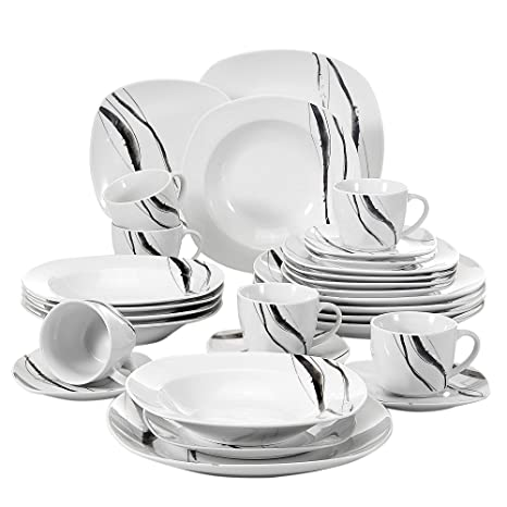 VEWEET 30 Piece Porcelain Dinnerware Set Line Patterns White Square Kitchen Plate Sets With Dinner Plate Soup Plate Dessert Plate Saucer And Mug